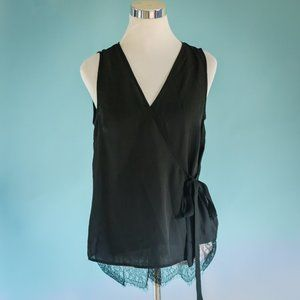 Pleione XS Black Lace Hem Sleeveless Wrap Top NWT